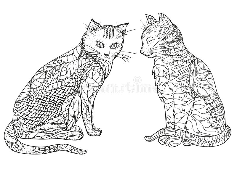 gatos Zentangle del diseño ilustración del vector