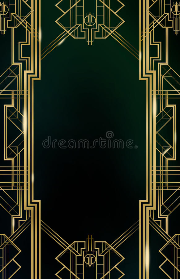 Gatsby Art Deco Background Gold royaltyfri illustrationer