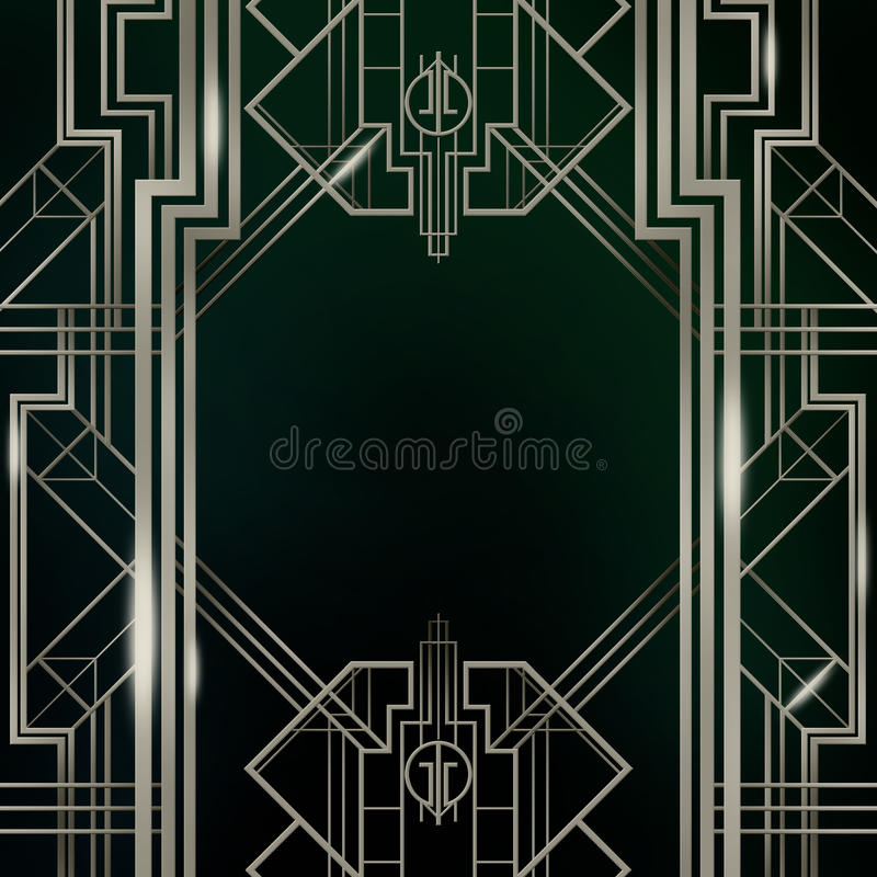 Gatsby Art Deco Background Silver. Artwork inspired by the Great Gatsby, art deco style background square royalty free illustration