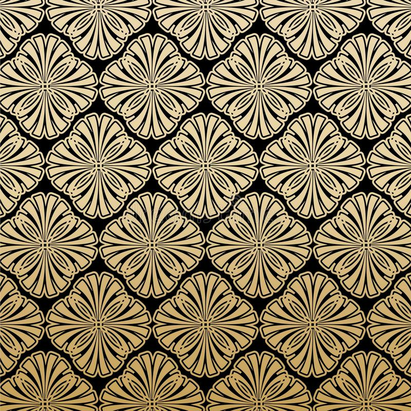 Gatsby floral Art Deco Pattern Background Design stock de ilustración
