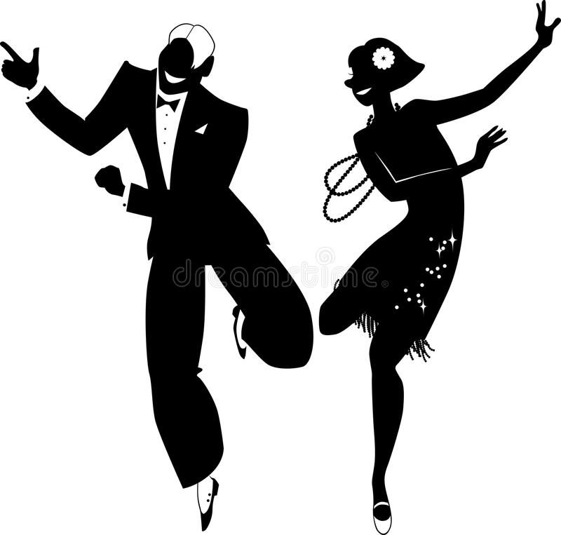 Gatsby party silhouette stock illustration