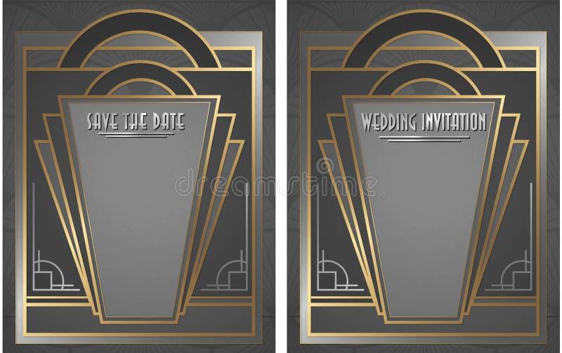 Gatsby-stijl art deco bruiloft-uitnodiging en sla de datum op stock illustratie