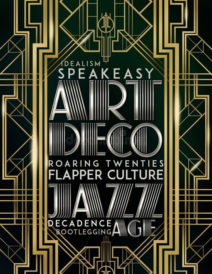Gatsby stil Art Deco Jazz Era stock illustrationer