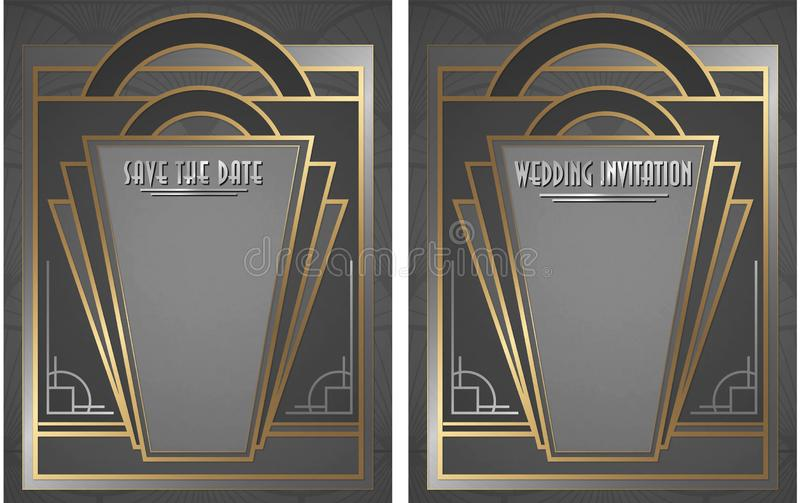 Gatsby style art deco wedding invitation and save the date. Elegant gold and silver stock illustration