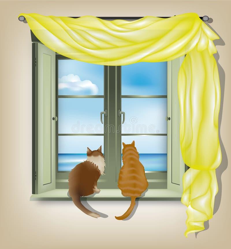 Gatti che osservano dalla finestra illustrazione - Davanzale interno finestra ...