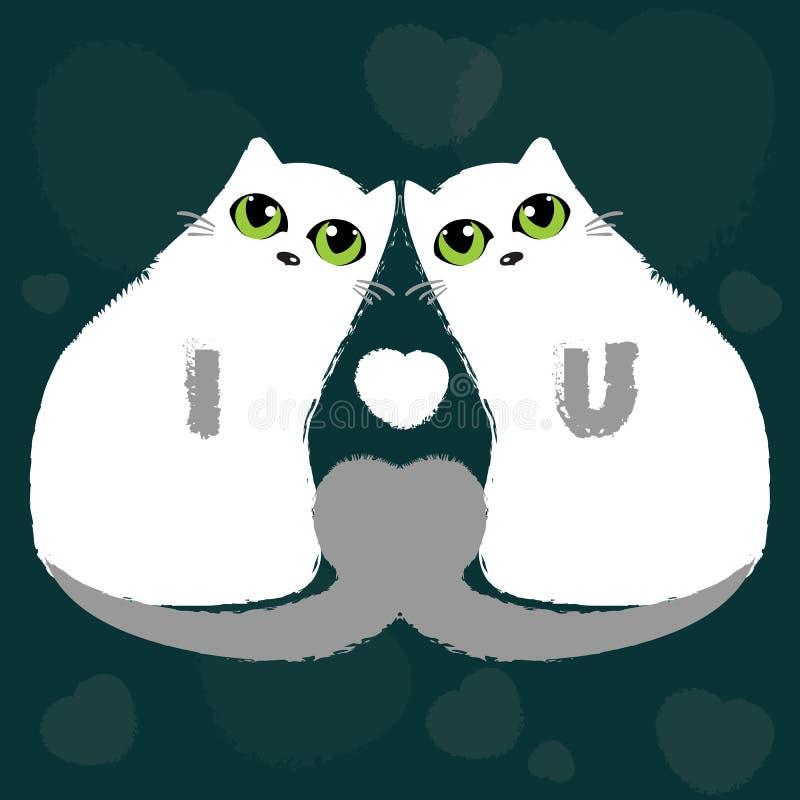 Gatti di amore, biglietti di S. Valentino royalty illustrazione gratis