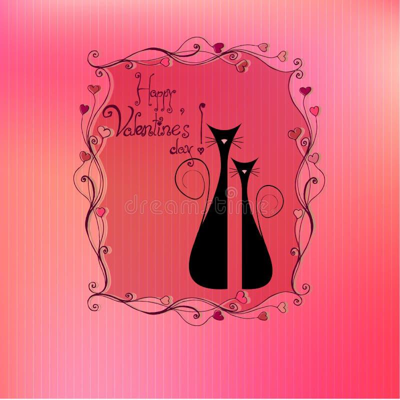 Gatti di giorno del biglietto di S. Valentino sveglio illustrato illustrazione vettoriale
