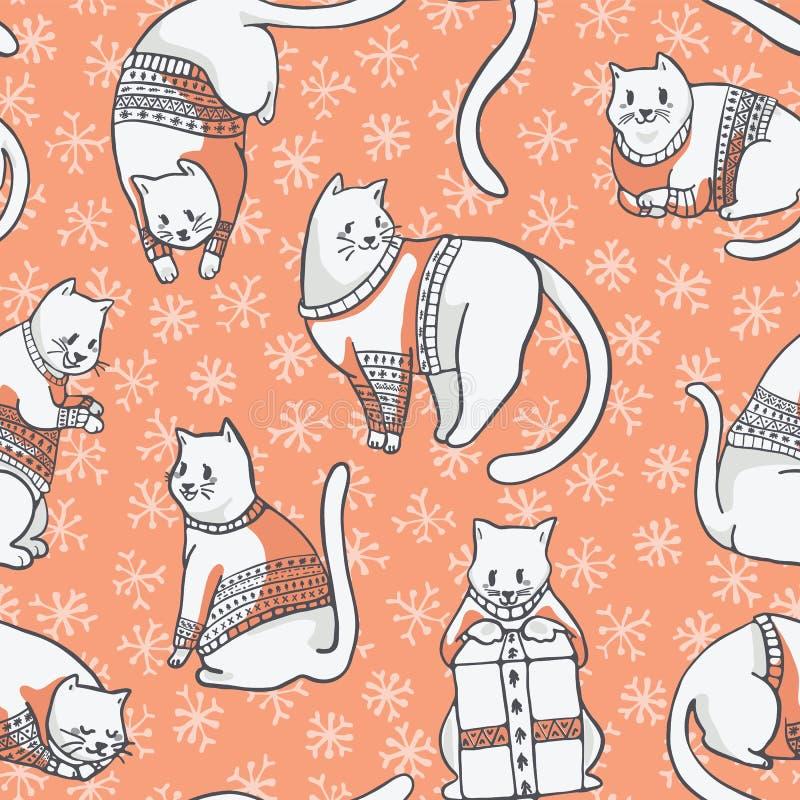 Gatti di Natale nel modello senza cuciture di vettore dei maglioni del ricamo royalty illustrazione gratis