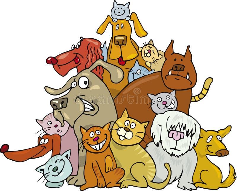Gatti e cani illustrazione vettoriale