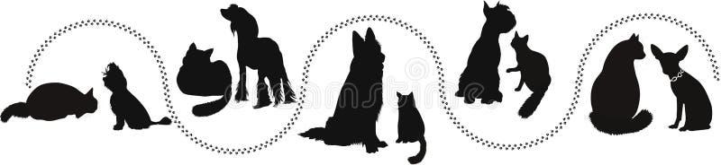 Gatti e cani degli animali illustrazione vettoriale