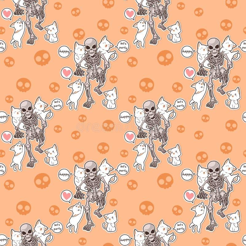 Gatti e scheletro senza cuciture di kawaii nel modello del partito di Halloween illustrazione di stock
