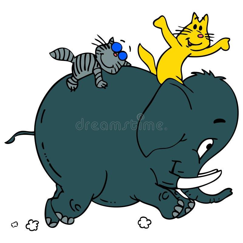 Gatti ed elefante illustrazione di stock