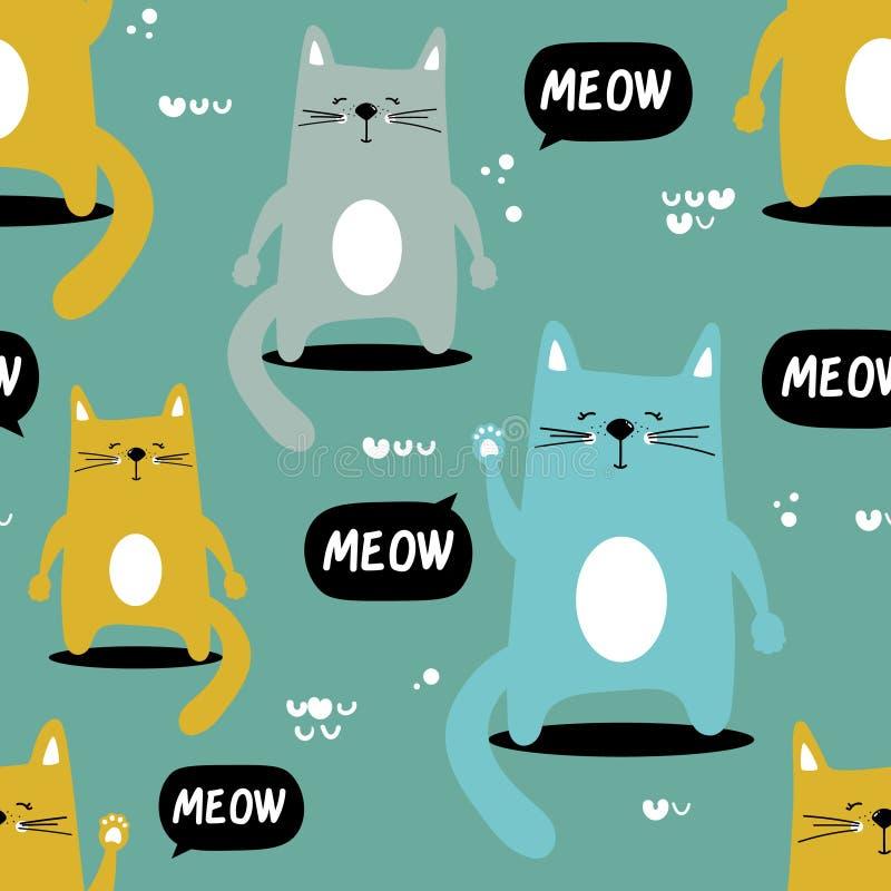 Gatti felici, fondo sveglio decorativo Modello senza cuciture variopinto con gli animali illustrazione di stock