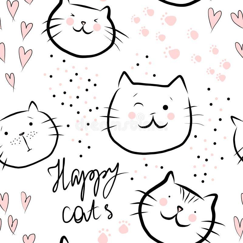 Gatti felici svegli con i cuori rosa e testo - modello senza cuciture isolato su bianco illustrazione vettoriale