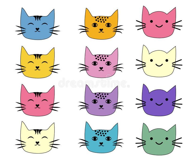 Gatti, insieme dello scarabocchio sveglio Carattere di schizzo fatto a mano stampare le magliette royalty illustrazione gratis