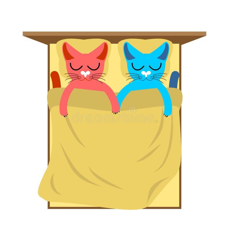 Gatti a letto Amore sveglio di sonno del gatto Amante holiday14 febbraio V royalty illustrazione gratis