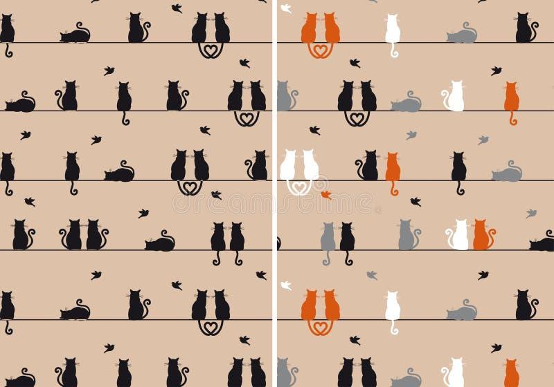 Gatti modello senza cuciture, vettore illustrazione vettoriale