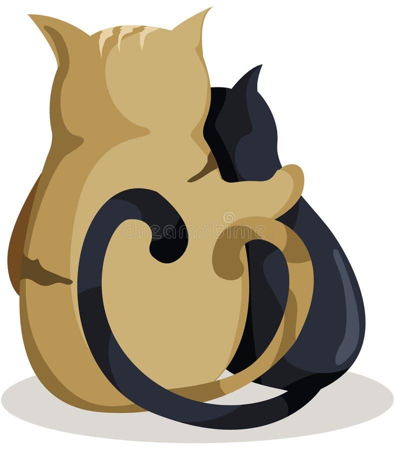 Gatti nell'amore royalty illustrazione gratis