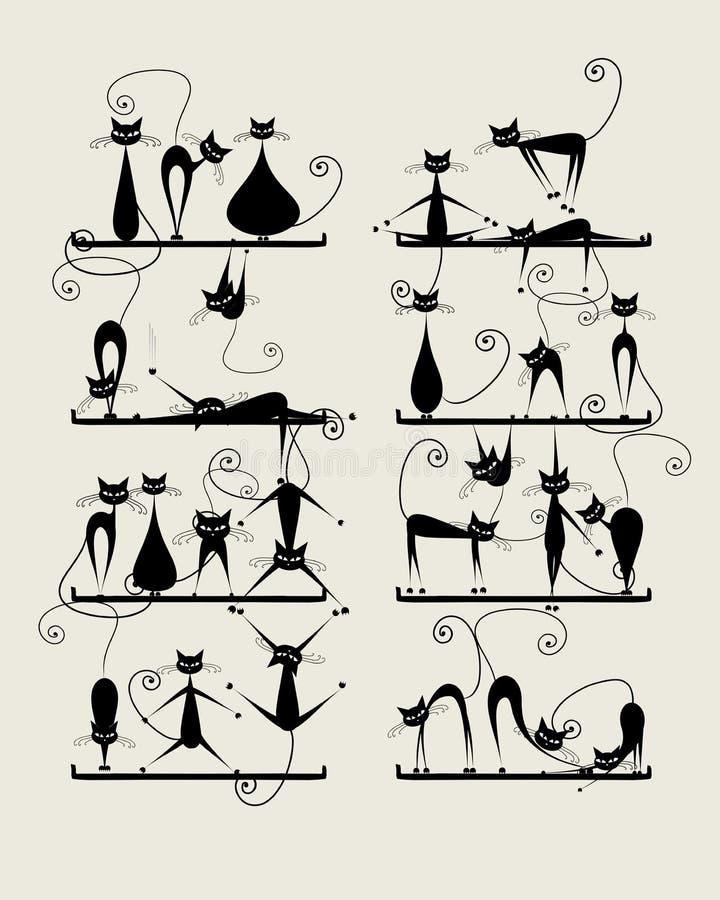 Gatti neri divertenti sugli scaffali per la vostra progettazione illustrazione di stock