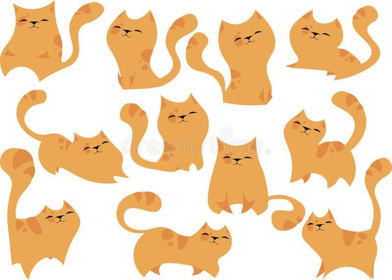 Gatti sorridenti nelle pose differenti, colore arancio con una piccola quantità di punti rotondi sul corpo royalty illustrazione gratis