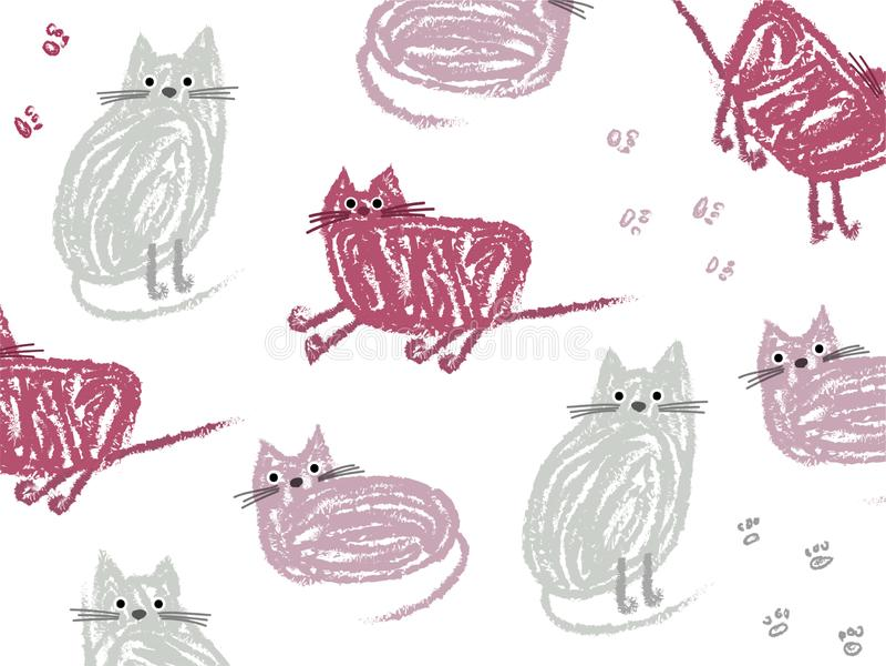 Gatti svegli del fumetto disegnati a mano per gli ambiti di provenienza e le icone royalty illustrazione gratis
