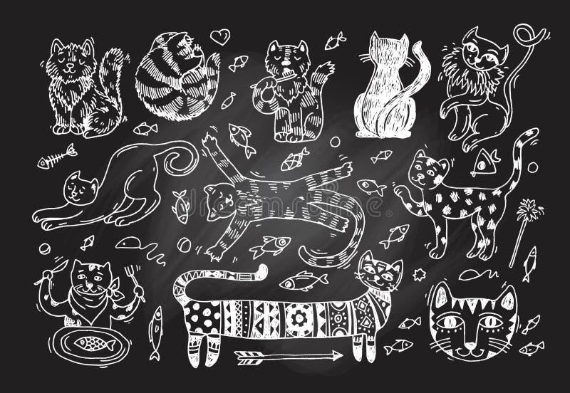 Gatti svegli della bella illustrazione disegnata a mano di vettore illustrazione di stock