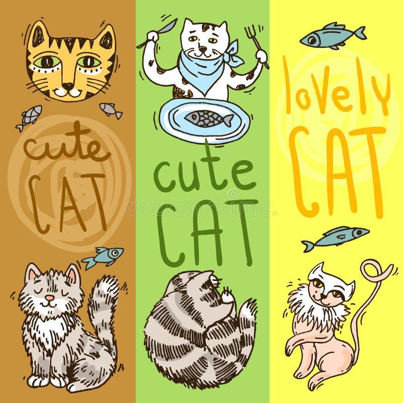 Gatti svegli della bella illustrazione disegnata a mano di vettore royalty illustrazione gratis