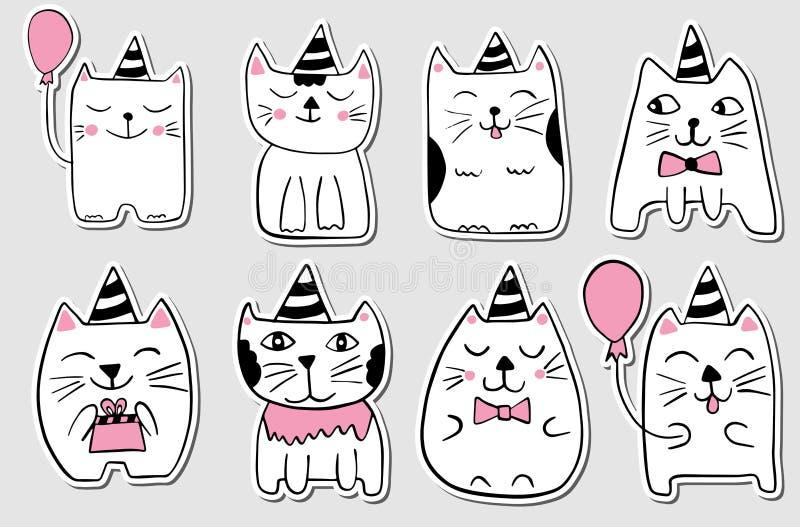 Gatti svegli Insieme stilizzato disegnato a mano degli autoadesivi Animali di scarabocchio del profilo Personaggi dei cartoni ani illustrazione vettoriale
