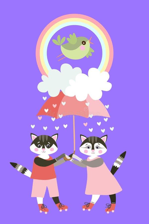 Gatti svegli sui pattini di rullo con l'ombrello leggiadramente, le nuvole, le gocce di pioggia nella forma di cuori, l'arcobalen illustrazione vettoriale