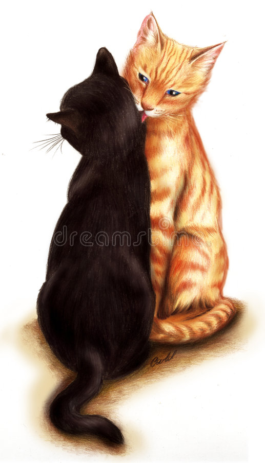 Gatti teneri illustrazione vettoriale