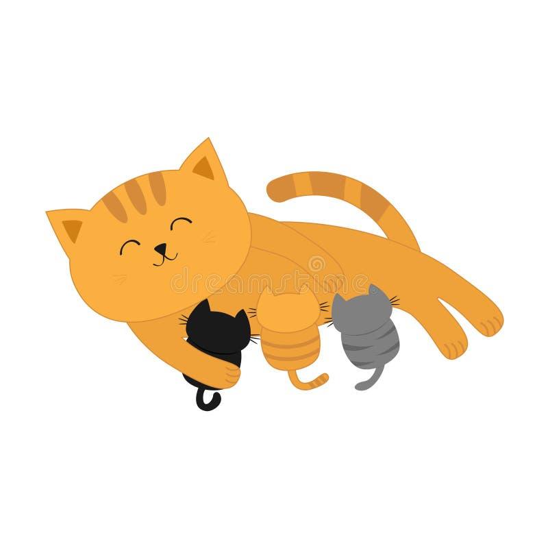 Gattini d'alimentazione della madre del gatto Gattino della mamma che mette sul pavimento e che cura i piccoli gatti royalty illustrazione gratis