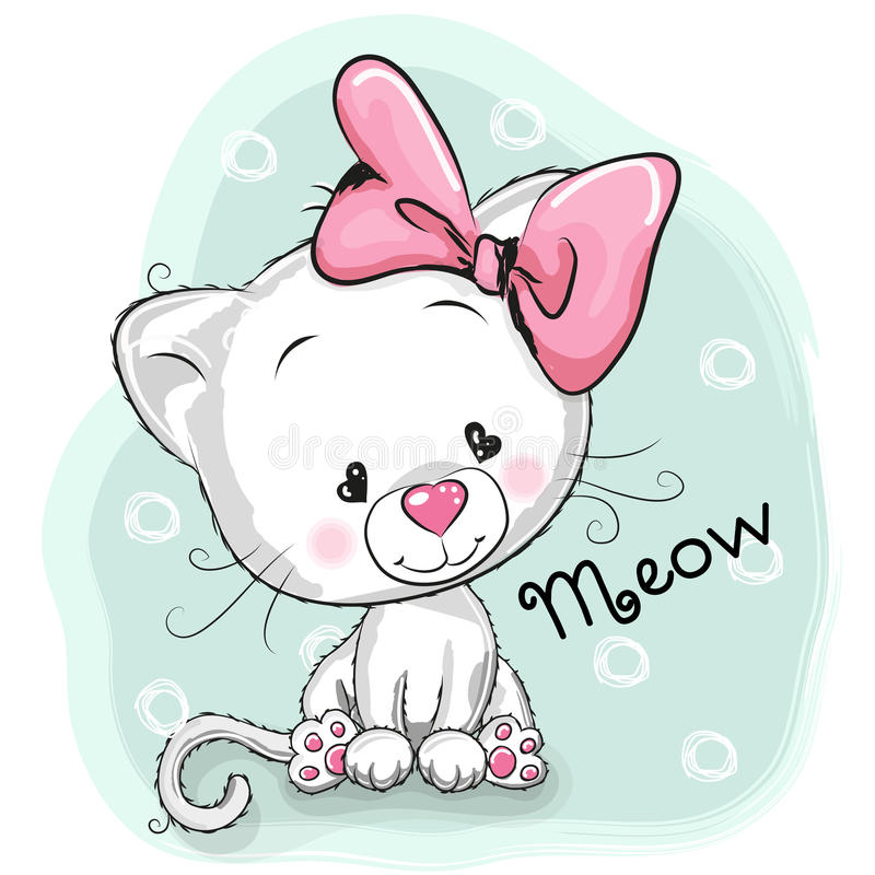 Gattino bianco sveglio royalty illustrazione gratis
