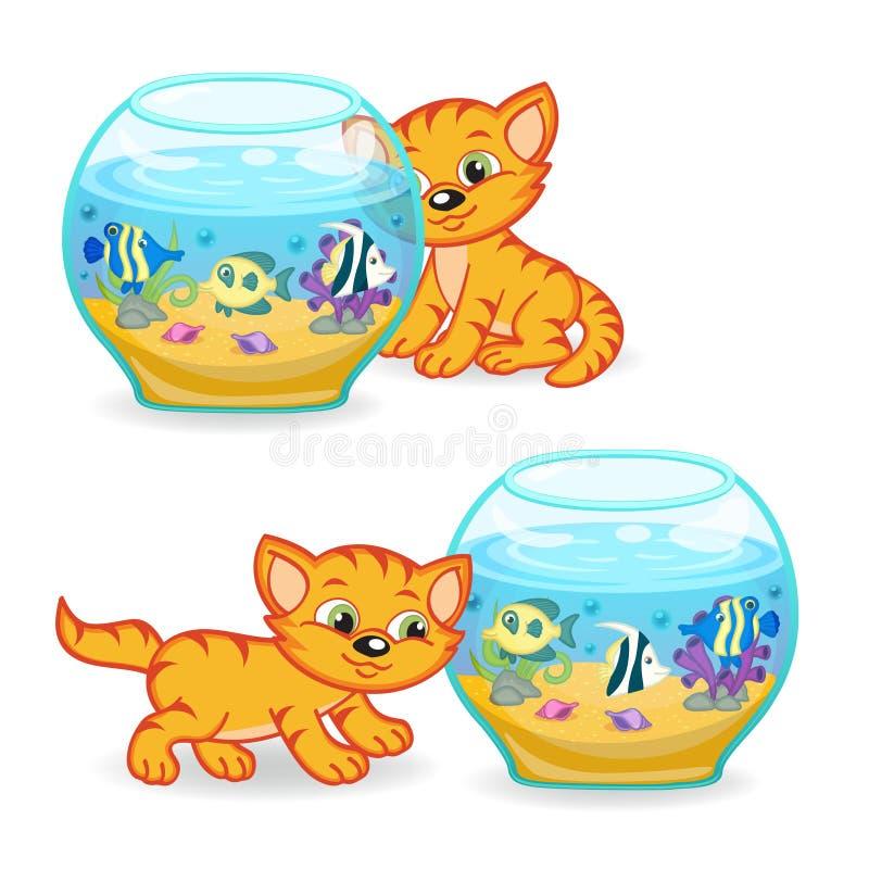 gattino che cammina intorno ad un acquario con i pesci royalty illustrazione gratis