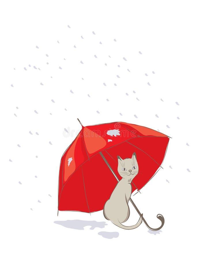 Gattino con l'ombrello rosso illustrazione di stock