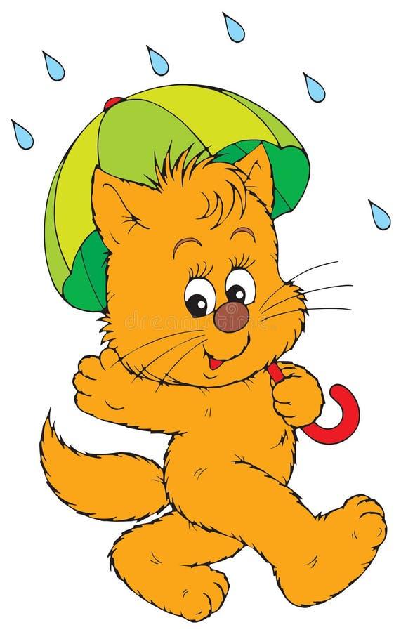 Gattino con l'ombrello (vettore) royalty illustrazione gratis