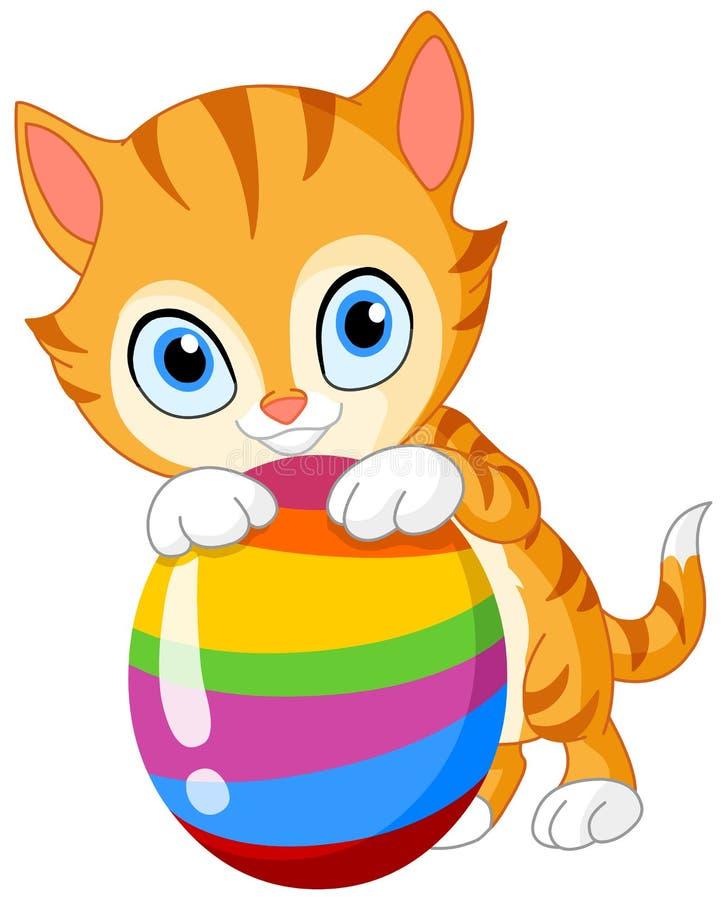 Gattino con l'uovo Pasqua illustrazione di stock