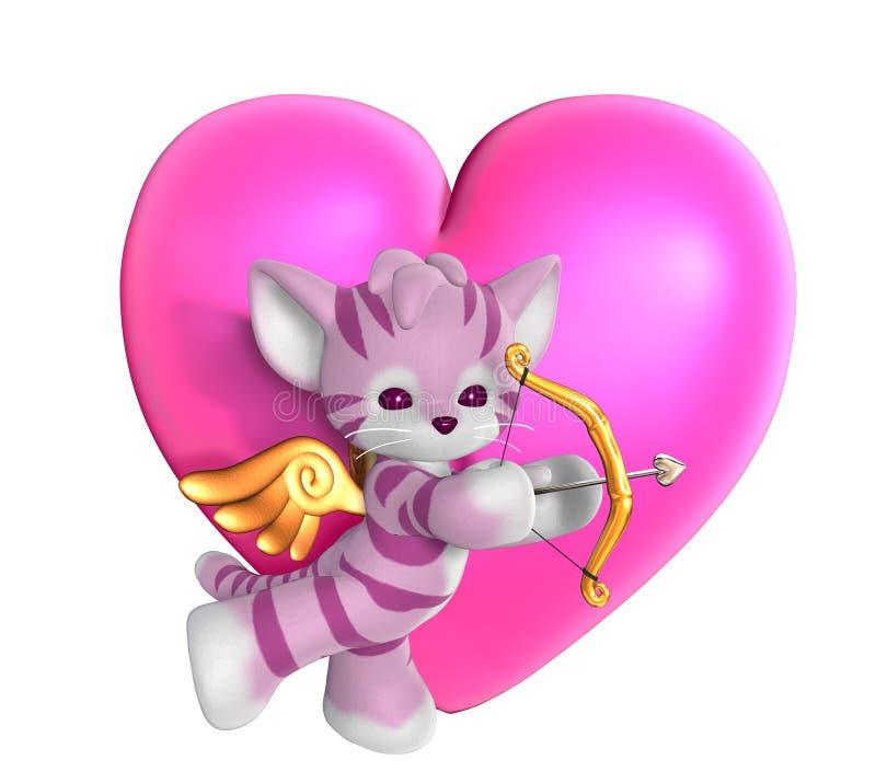 Gattino del Cupid con cuore 2 royalty illustrazione gratis