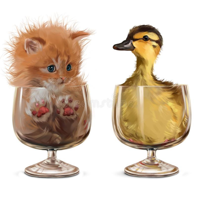 Gattino ed anatroccolo che si siedono in vetri Pittura dell'acquerello illustrazione di stock