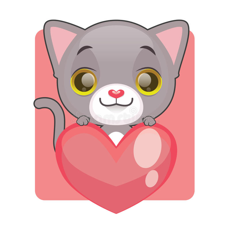 Gattino grigio sveglio che tiene un cuore gigante illustrazione vettoriale
