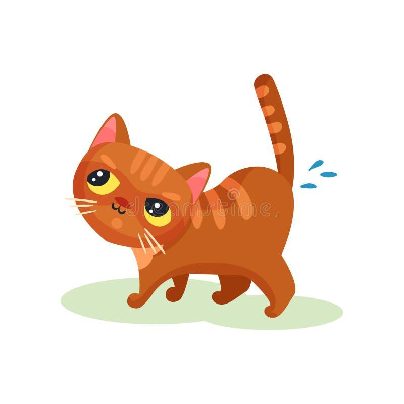 Gattino impertinente che orina sul pavimento, piccola illustrazione sveglia maligna di vettore del gatto su un fondo bianco royalty illustrazione gratis