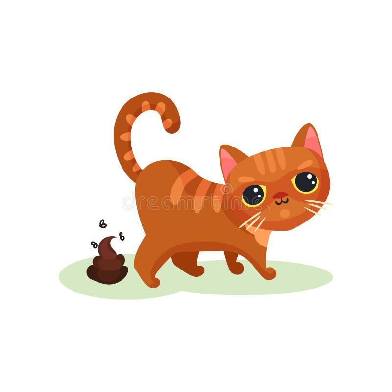 Gattino impertinente che pooping, piccola illustrazione sveglia maligna di vettore del gatto su un fondo bianco illustrazione di stock