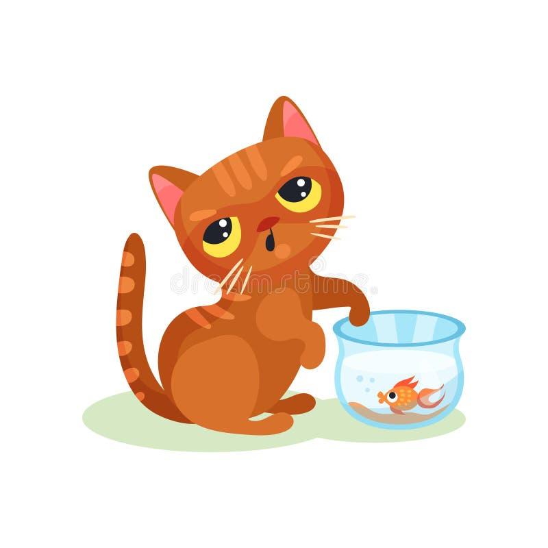 Gattino impertinente che prova a pescare il pesce dell'acquario, piccola illustrazione sveglia maligna di vettore del gatto su un illustrazione di stock