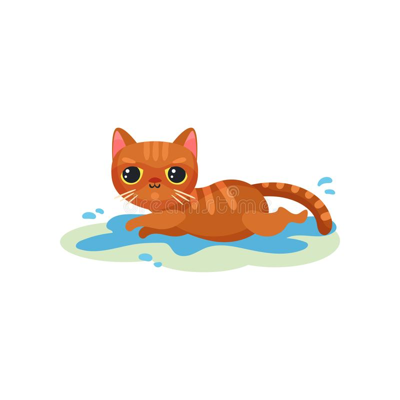 Gattino impertinente che si trova in una pozza sul pavimento, piccola illustrazione sveglia maligna di vettore del gatto su un fo illustrazione di stock