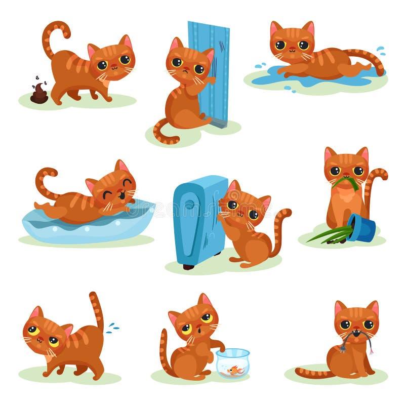 Gattino impertinente nelle situazioni differenti, piccole illustrazioni sveglie maligne di vettore del gatto su un fondo bianco royalty illustrazione gratis