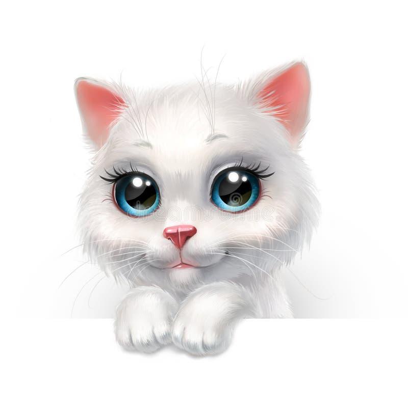 Gattino lanuginoso bianco che dà una occhiata dallo schermo, isolato su bianco illustrazione di stock