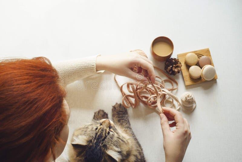 Gattino macchiato e caffè espresso femminile della bevanda fotografia stock