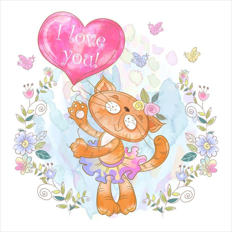 Gattino sveglio con un pallone sotto forma di cuore valentine Ti amo Vettore watercolor fotografia stock libera da diritti