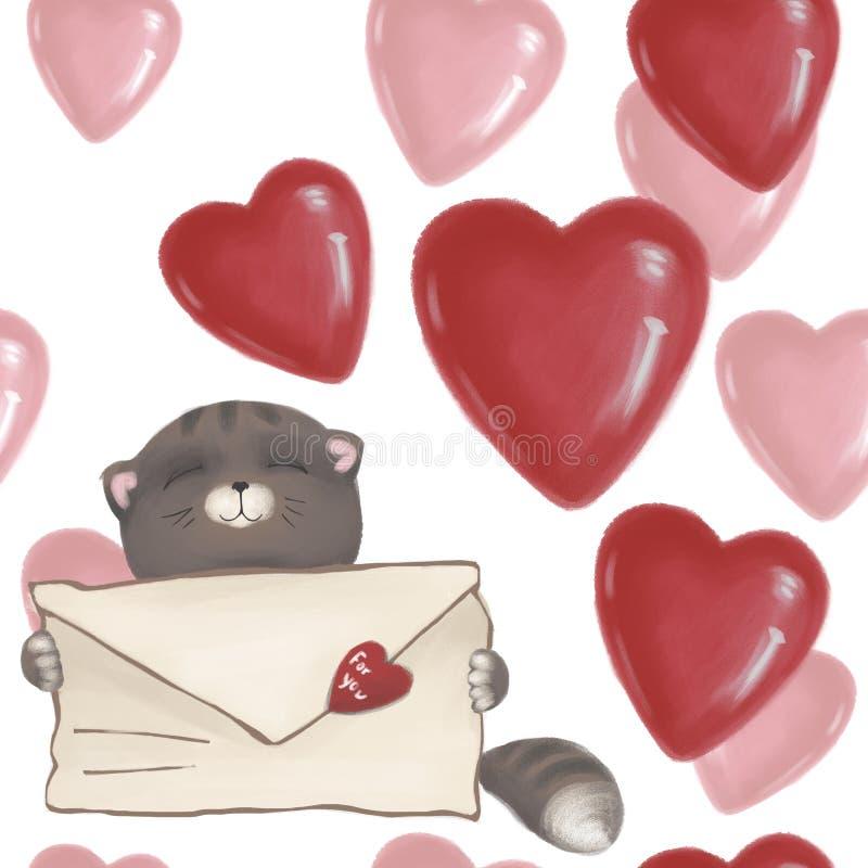 Gattino sveglio con una lettera di amore Gatto senza cuciture del modello nei cuori Giorno del `s del biglietto di S illustrazione di stock