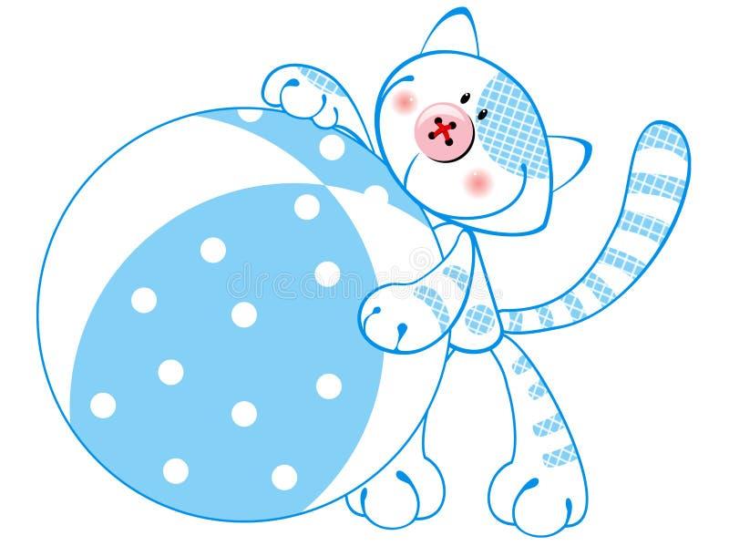 Gattino sveglio con una sfera royalty illustrazione gratis