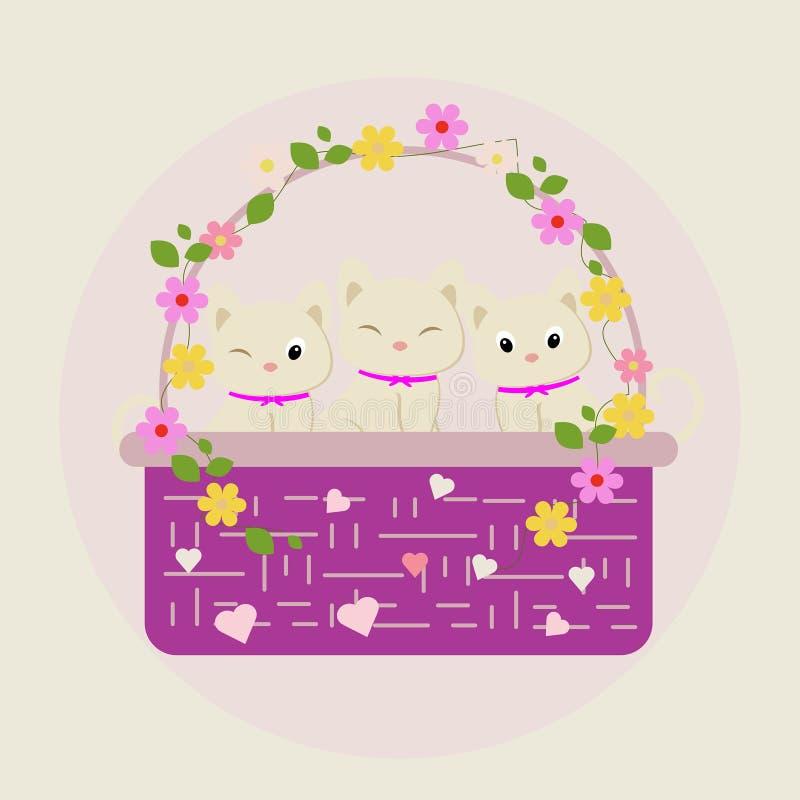 Gattino sveglio del fiore royalty illustrazione gratis